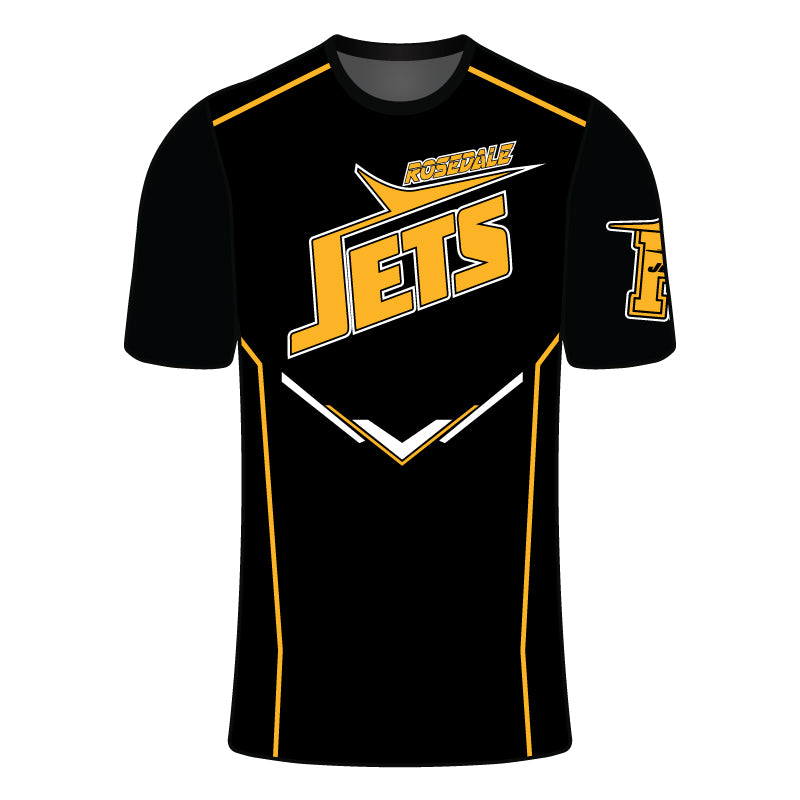 ROSEDALE JETS SUBLIMATED COMPRESSION SHIRT BLK GLD