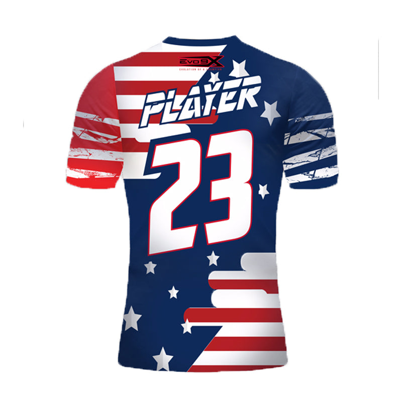 Custom Evo9x EVO AMERICAN FLAG STRIPES Full Dye Sublimated Shirt