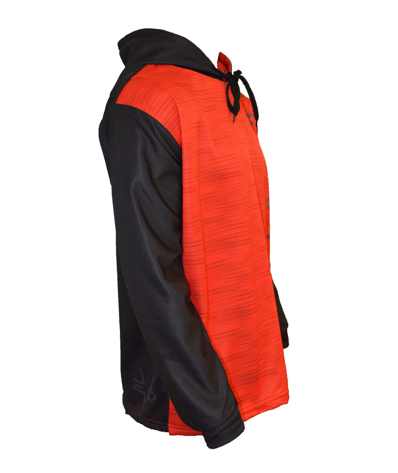 MENS FULL DYE SUBLIMATED RED BLACK HASH PULLOVER HOODIE