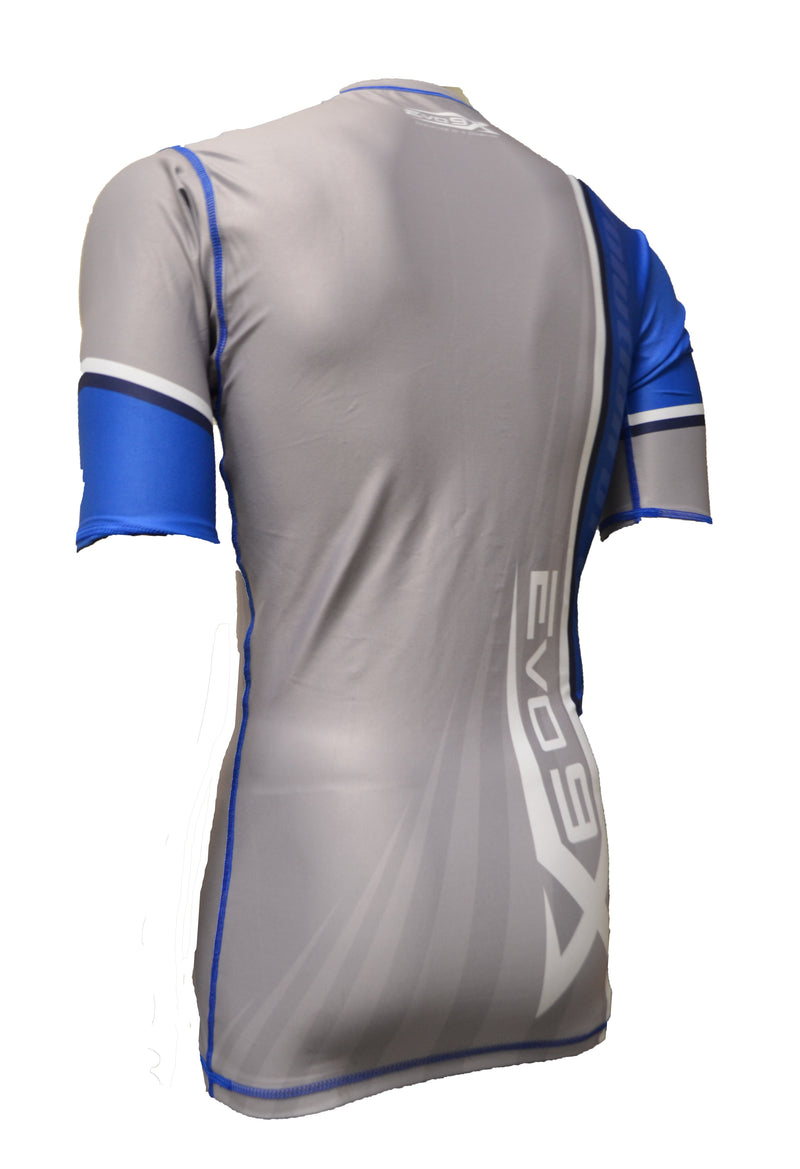 FULL DYE SUBLIMATED BLUE GREY STRIPE 3/4 SLEEVE COMPRESSION SHIRT