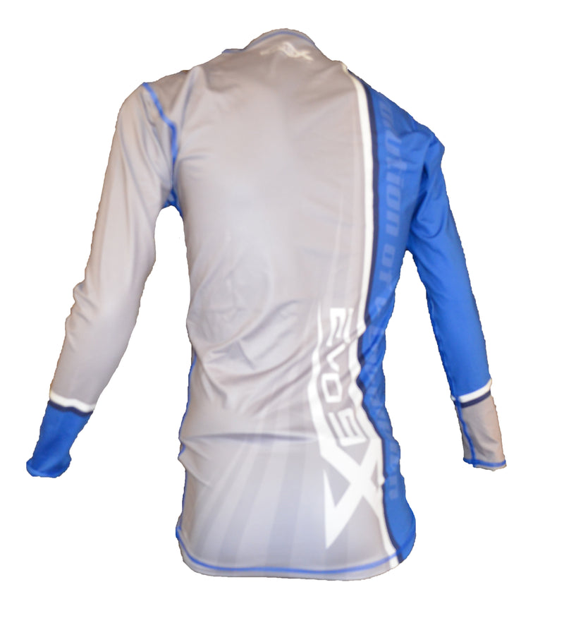 Evo9x BLUE/GREY Stripe Full Sublimated Long Sleeve Compression Shirt