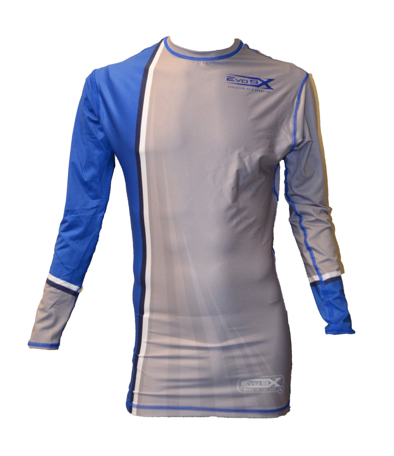 FULL DYE SUBLIMATED BLUE GREY STRIPE LONG SLEEVE COMPRESSION SHIRT
