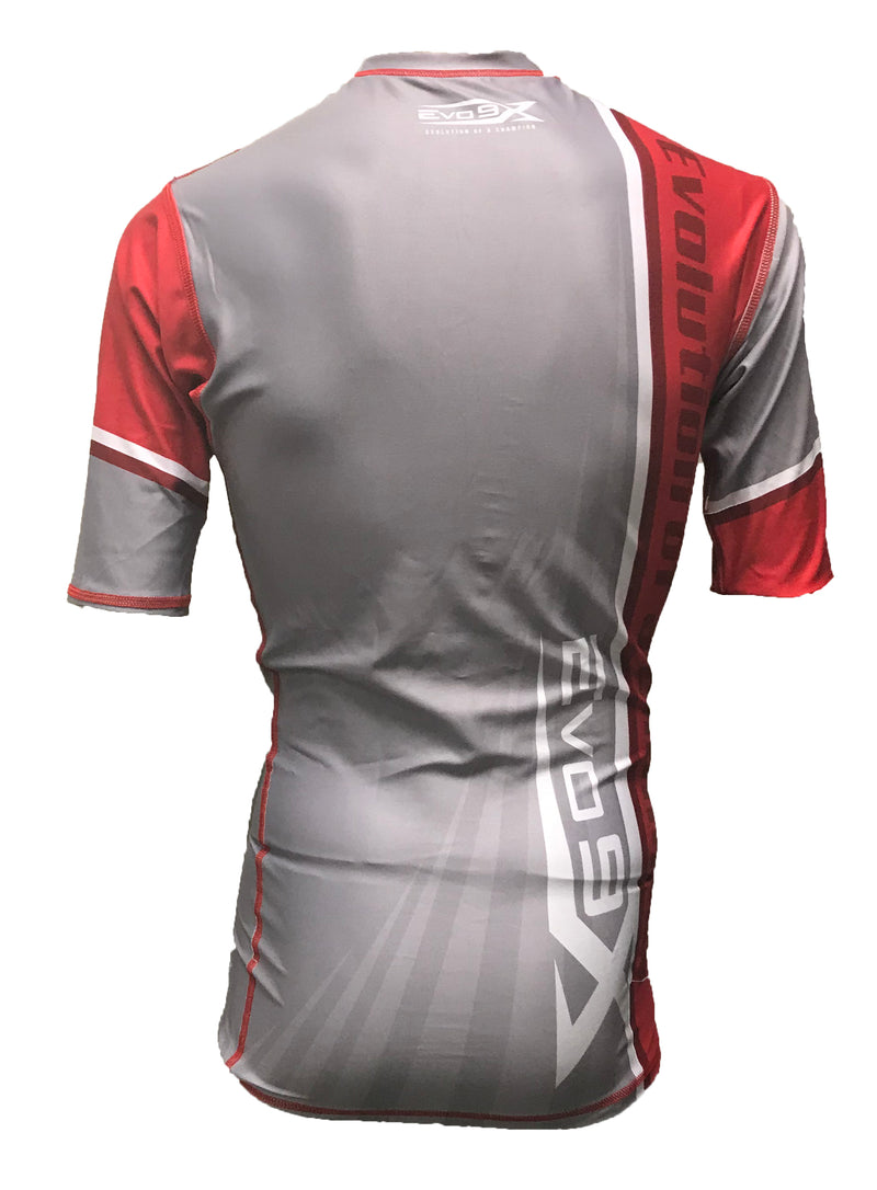 FULL DYE SUBLIMATED RED GREY STRIPE 3/4 SLEEVE COMPRESSION SHIRT