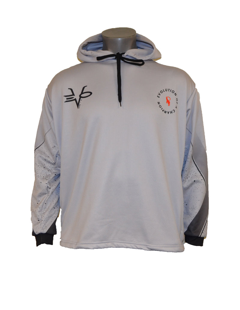 MENS FULL DYE SUBLIMATED LIGHT GREY EVO IMEX SPLATTER PULLOVER HOODIE
