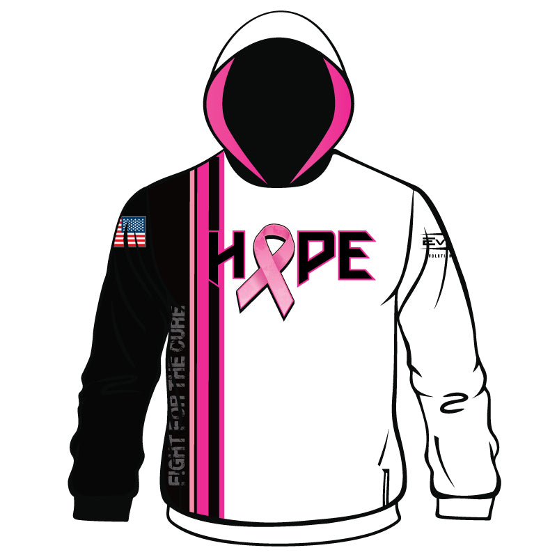 HOPE BREAST CANCER AWARENESS Full Dye Sublimated Hoodie WHT