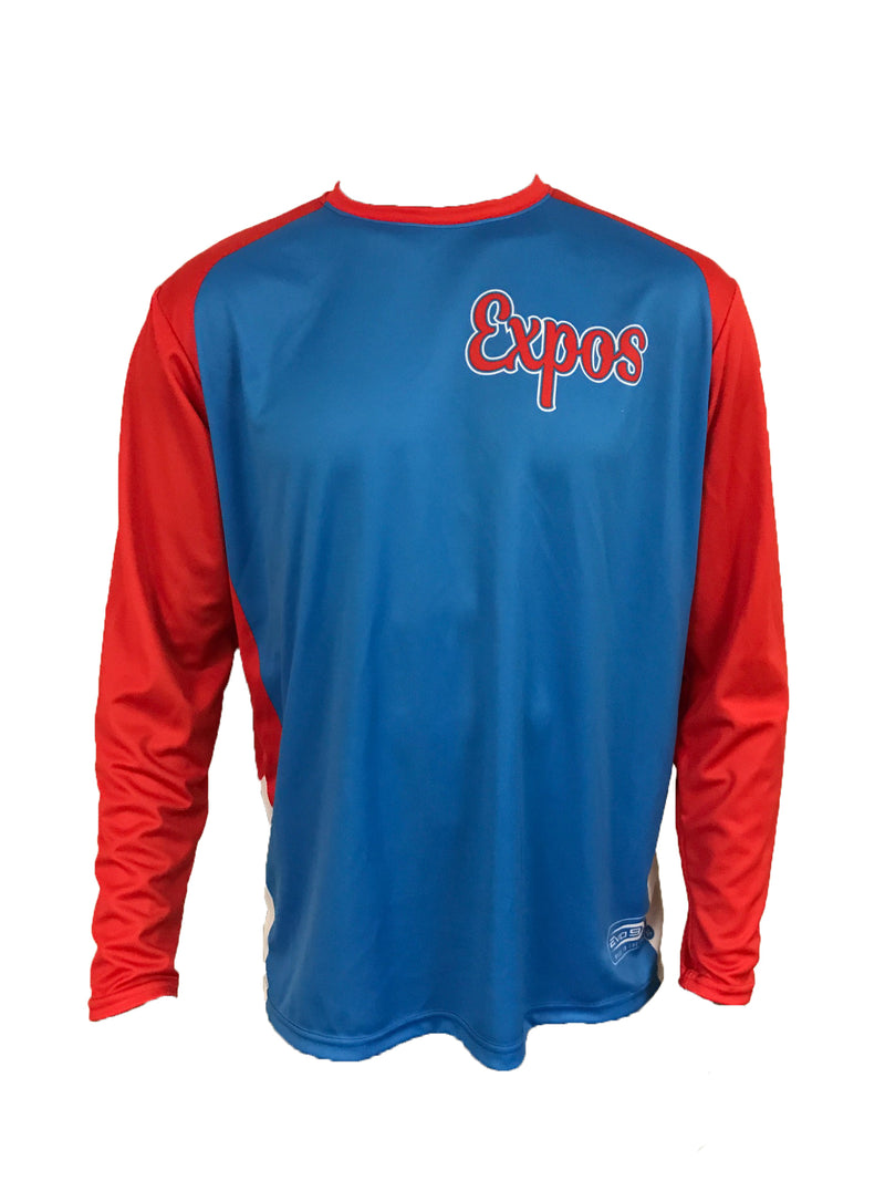 Full Dye Sublimated Long Sleeve Jersey BLUE EXPOS