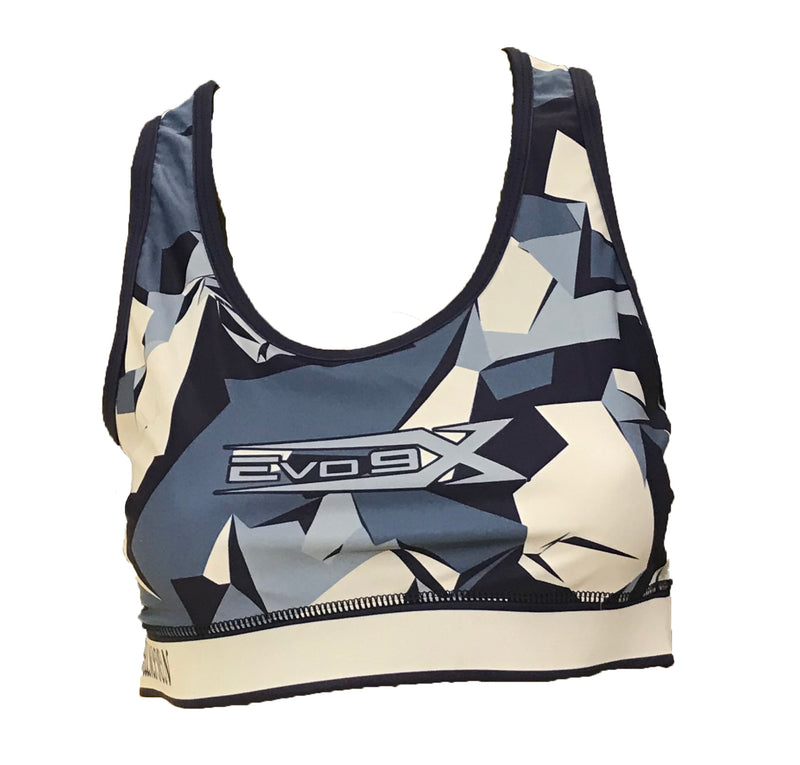 Evo9x SCALES Full Dye Sublimated Racerback Sports Bra Black/Yellow