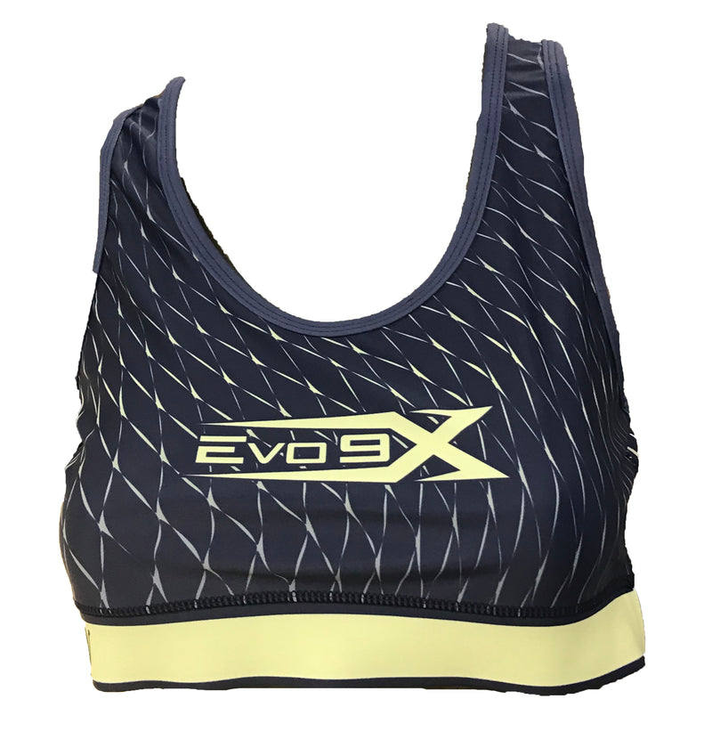 WOMENS FULL DYE SUBLIMATED BLACK YELLOW LINES SPORTS BRA