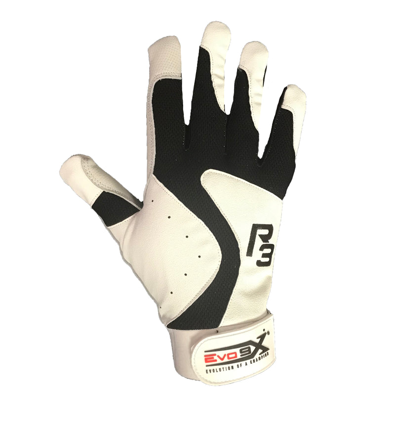 R3 BATTING GLOVES BLACK WHITE