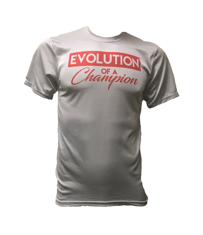 MENS SEMI SUBLIMATED EVOLUTION SLOGAN GREY SHORT SLEEVE SHIRT