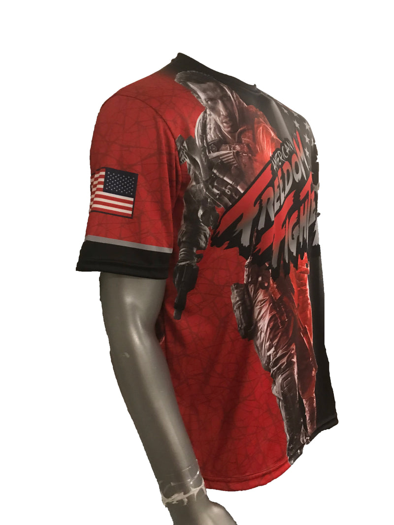 Evo9x EVO FREEDOM FIGHTER Full Dye Sublimated Shirt Red