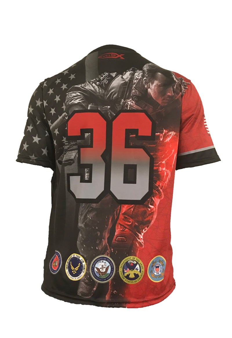 Evo9x FREEDOM FIGHTER Full Sublimated Crew Neck Shirt Red
