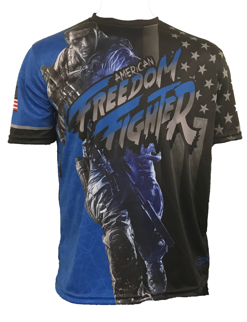 Evo9x EVO FREEDOM FIGHTER Full Dye Sublimated Shirt Blue/Black