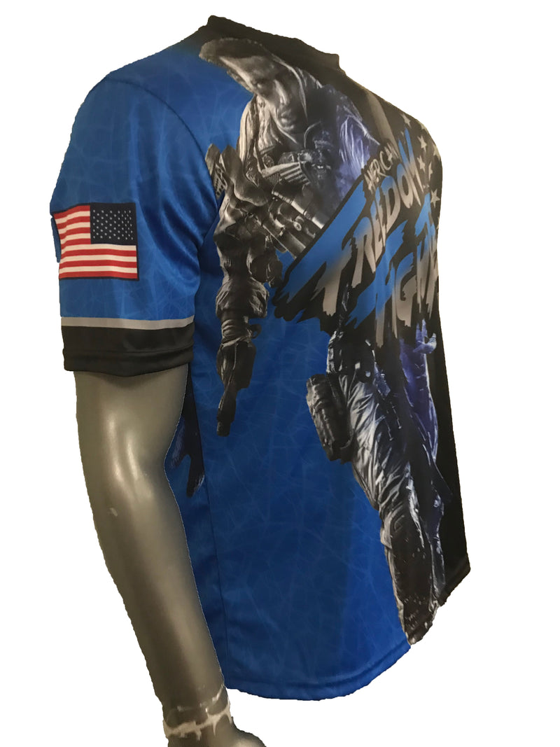 Evo9x FREEDOM FIGHTER Full Sublimated Crew Neck Shirt Blue