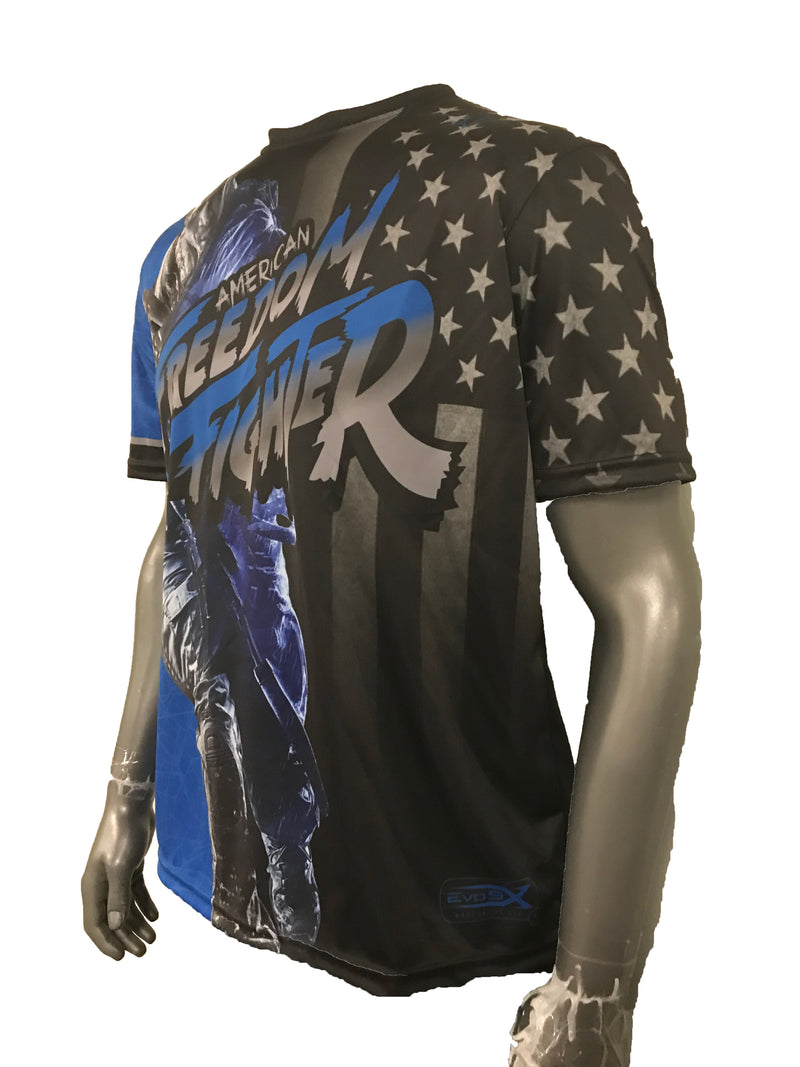 WOMENS EVO FREEDOM FIGHTER SHIRT BLUE