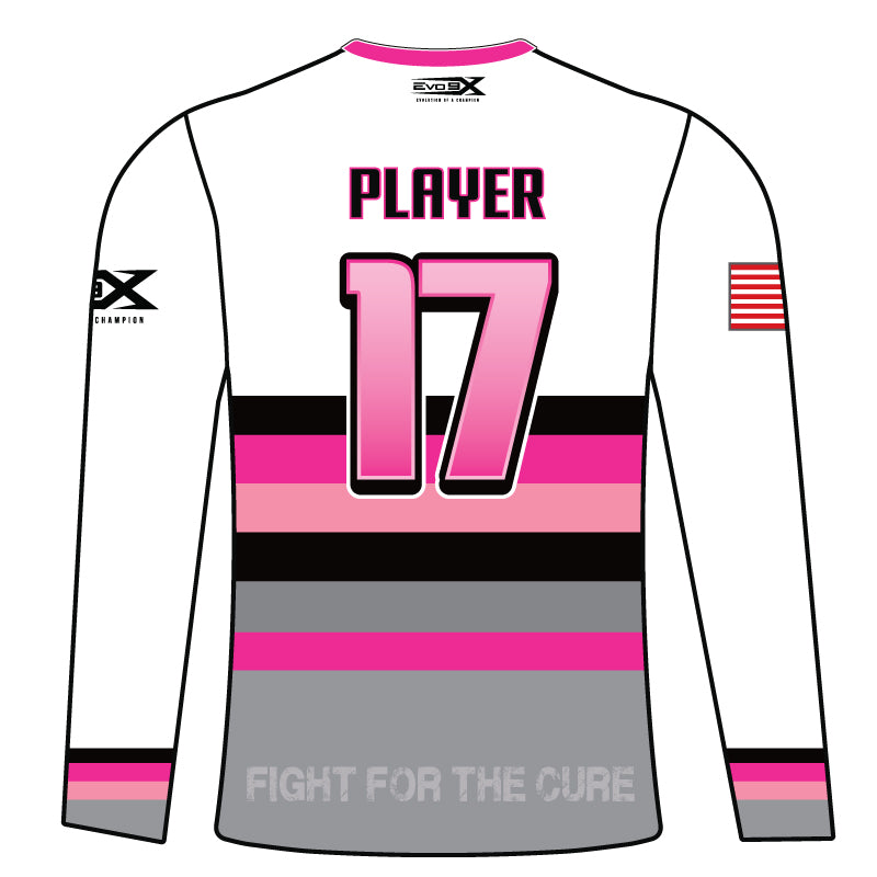 WOMENS Full Dye Sublimated Long Sleeve Jersey PNK WHT RTRO STRP HOPE