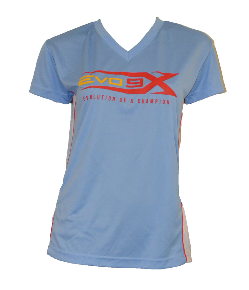 WOMENS SKY BLUE EVO LOGO WHITE STRIPE SHIRT CLEARANCE