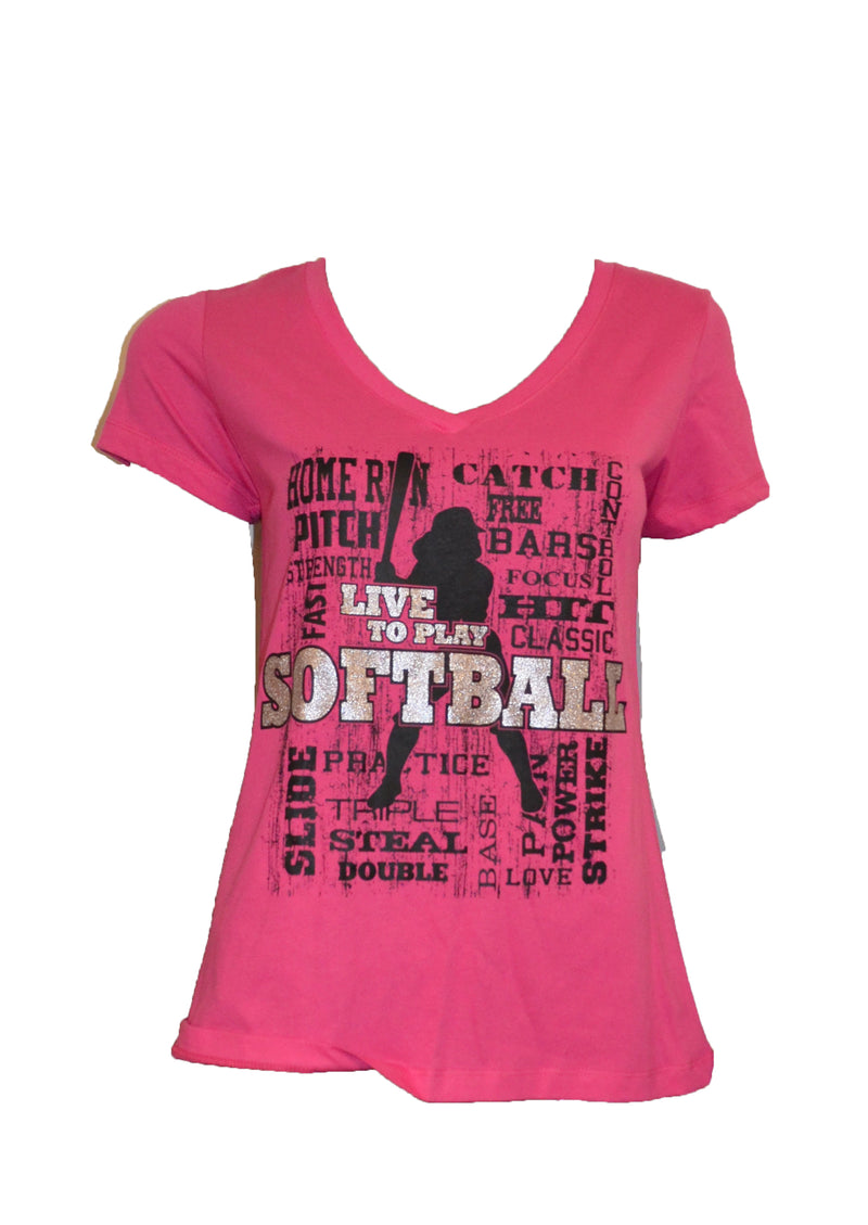 WOMENS LIVE TO PLAY SOFTBALL SHIRT CLEARANCE