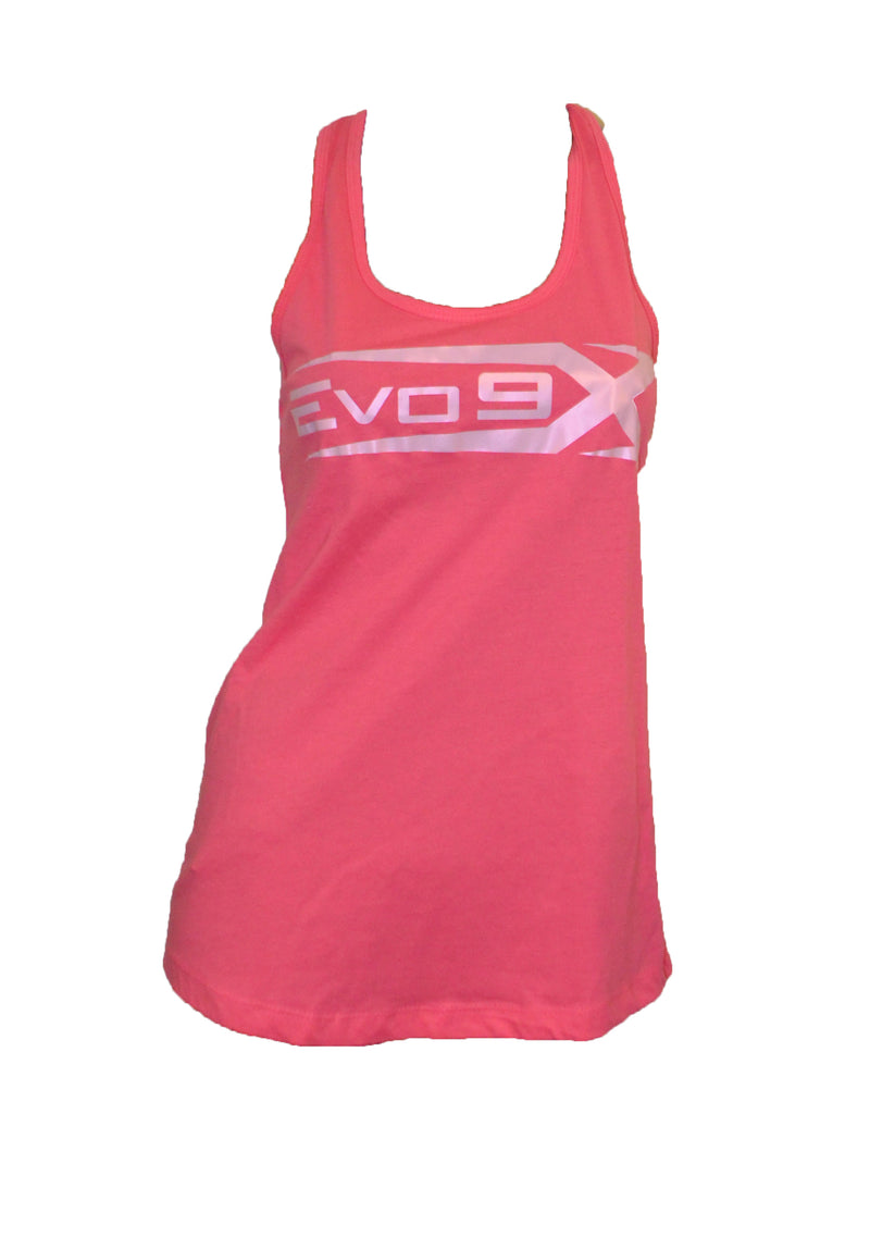 Evo9x Semi Sublimated Logo Racer Back Tank Top Pink- Clearance