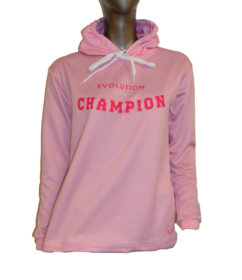 WOMENS FULL DYE SUBLIMATED PINK EVO SLOGAN PULLOVER HOODIE