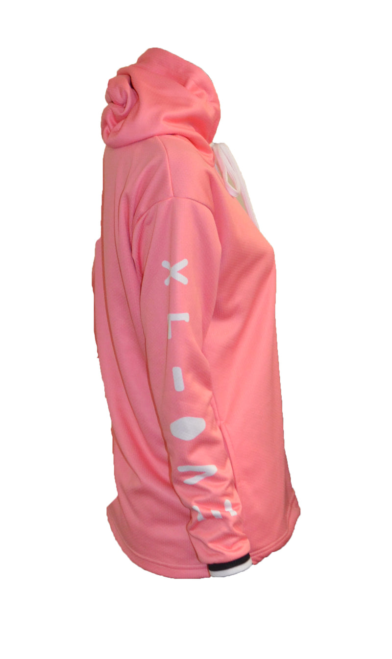 WOMENS FULL DYE SUBLIMATED PINK IMEX PULLOVER HOODIE