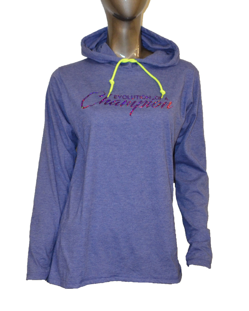 WOMENS EVO SLOGAN PURPLE HOODIE CLEARANCE