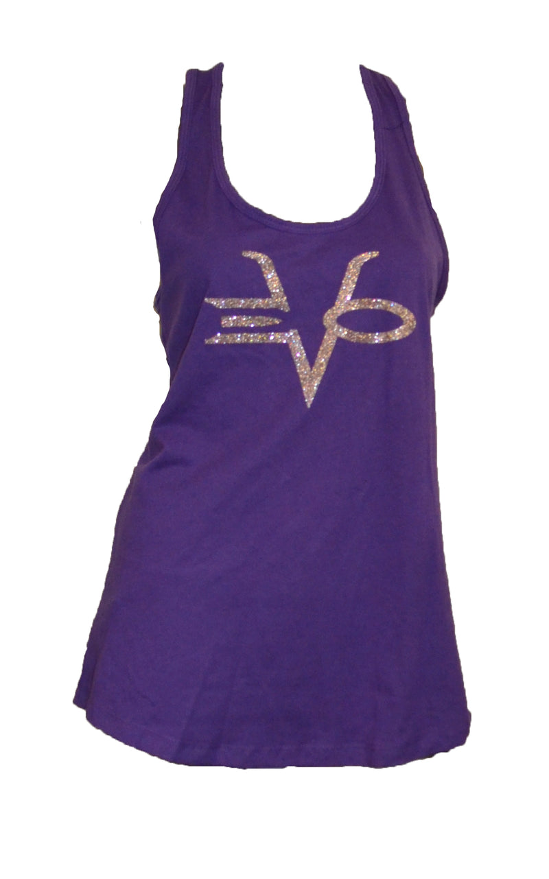 EVO STAMP RACER BACK TANK PURPLE SILVER CLEARANCE