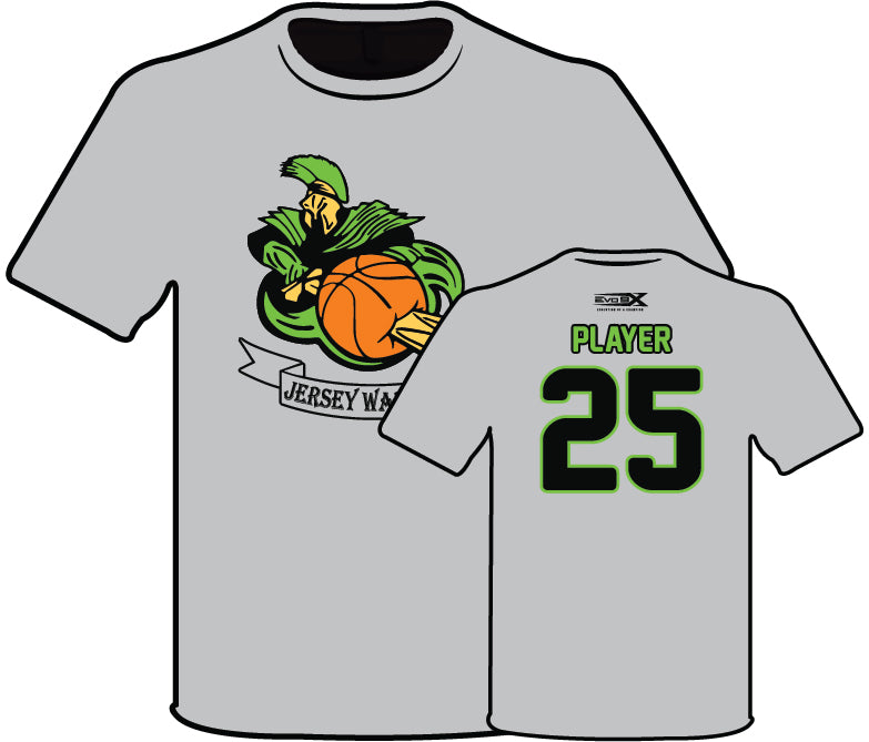 JERSEY WARRIORS SEMI SUBLIMATED GREY NAME AND NUMBER SHIRT