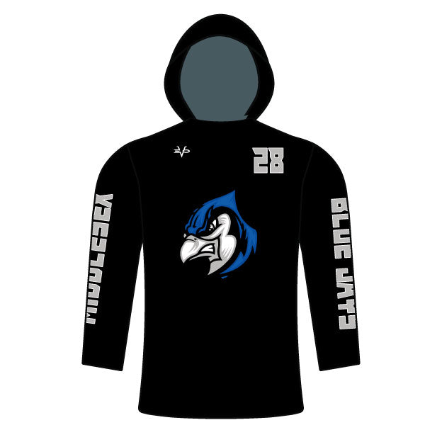 Evvo9x BLUE JAYS Full Dye Sublimated Long Sleeve T-Shirt Hoodie