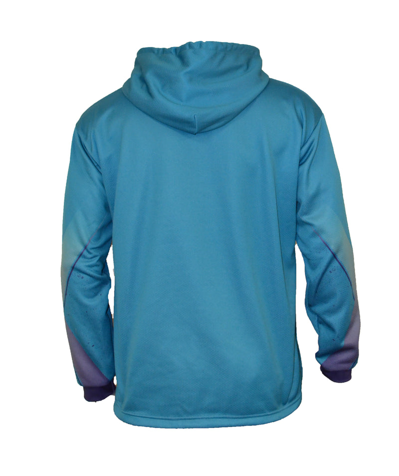 MENS FULL DYE SUBLIMATED BLUE GREEN EVO IMEX SPLATTER PULLOVER HOODIE