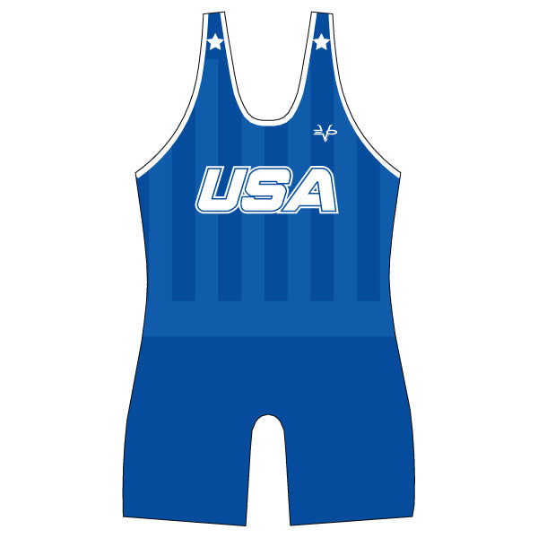 Evo9x USA Full Dye Sublimated Wrestling Singlet Blue