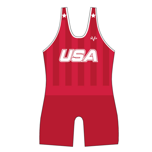 Evo9x USA Full Dye Sublimated Wrestling Singlet Red