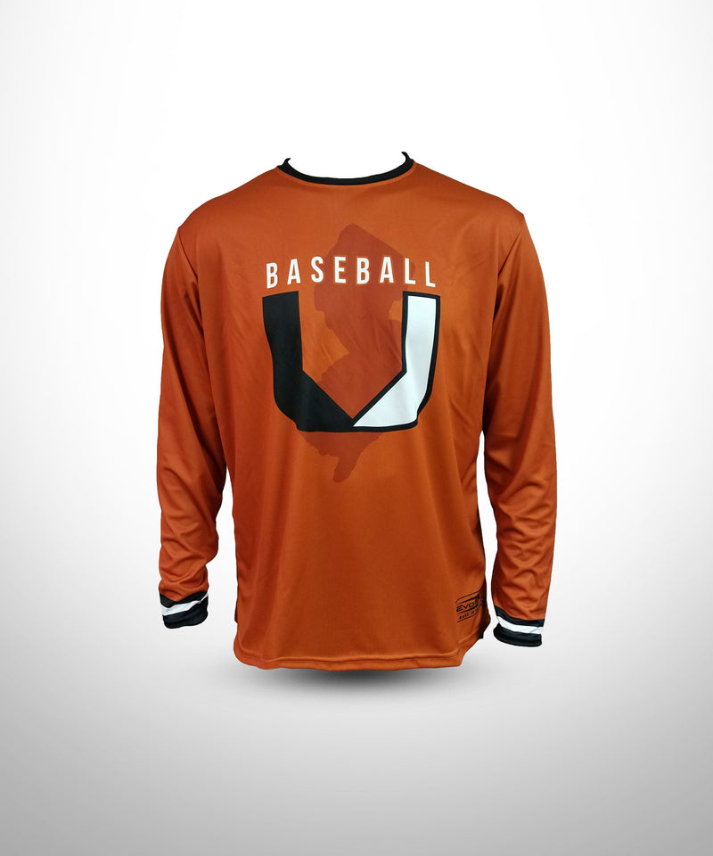 Full Dye Sublimated Long Sleeve Jersey ORG BASEBALL U