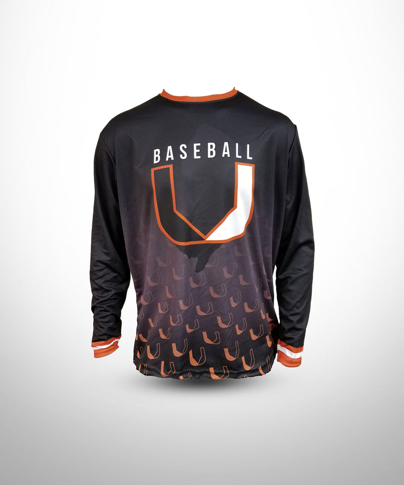Evo9x BASEBALL U Full Dye Sublimated Long Sleeve Jersey Black