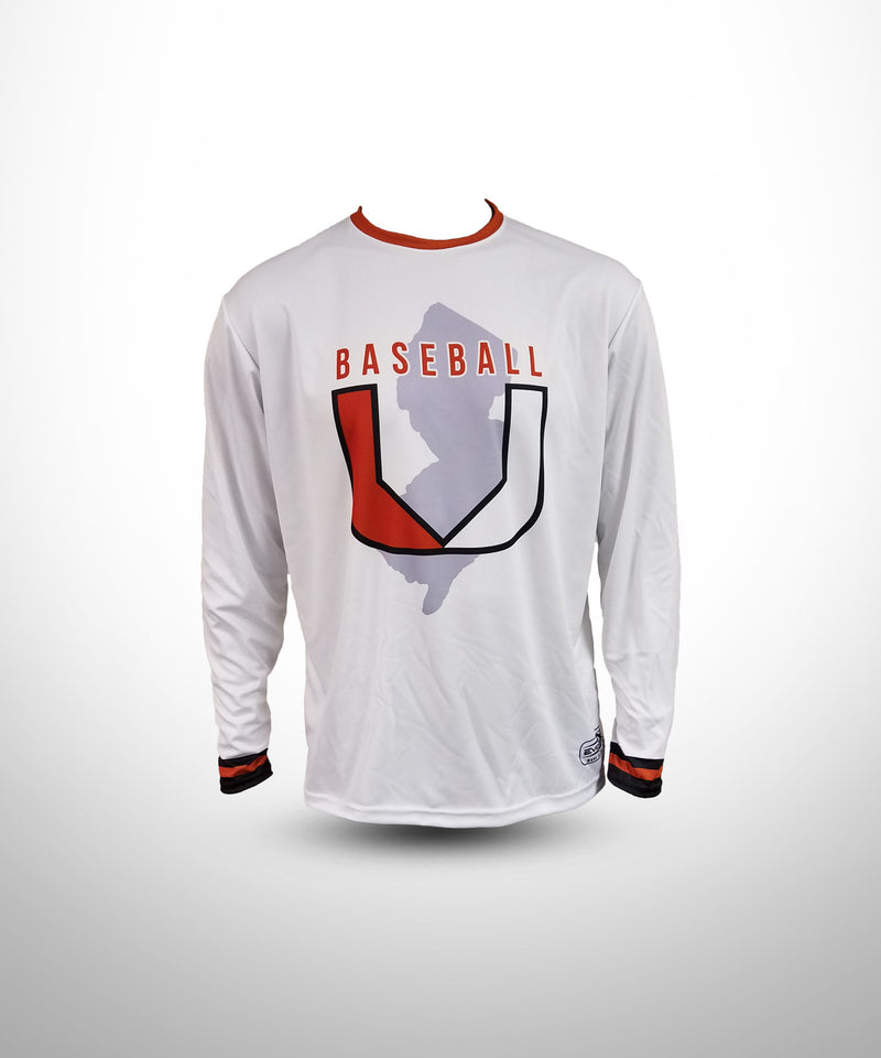 Full Dye Sublimated Long Sleeve Jersey WHT BASEBALL U