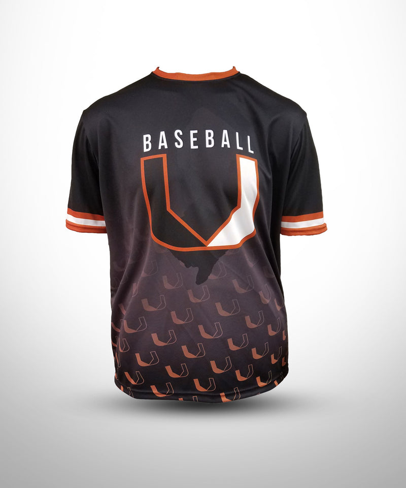 Evo9x BASEBALL U Full Dye Sublimated Short Sleeve Jersey Style-1 Black