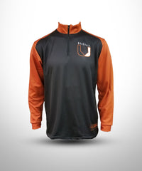 Full Dye Sublimated 1/4 Zipper Pullover . UBB-Black-TOrange
