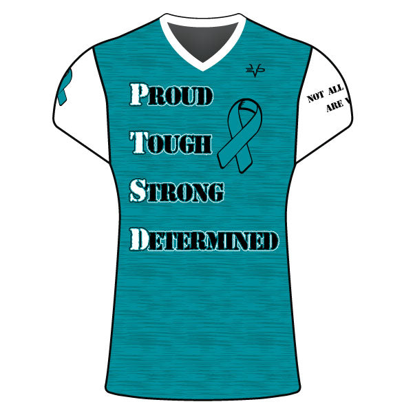 WOMENS EVO PTSD AWARENESS SLOGAN SHIRT AQUA