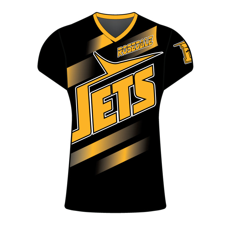 WOMENS ROSEDALE JETS SUBLIMATED SHORT SLEEVE SHIRT BLACK