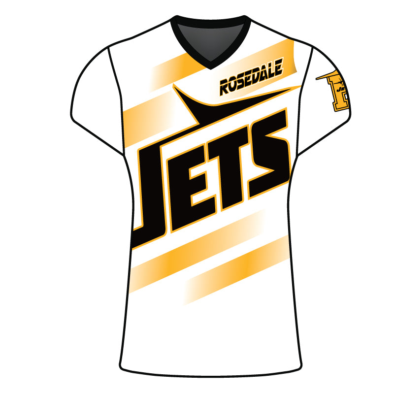 WOMENS ROSEDALE JETS SUBLIMATED SHORT SLEEVE SHIRT WHITE
