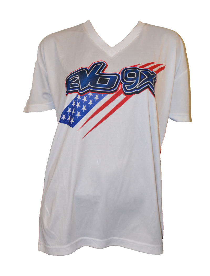 WOMENS WHITE EVO LOGO NAVY BLUE STRIPE FLAG SHIRT CLEARANCE