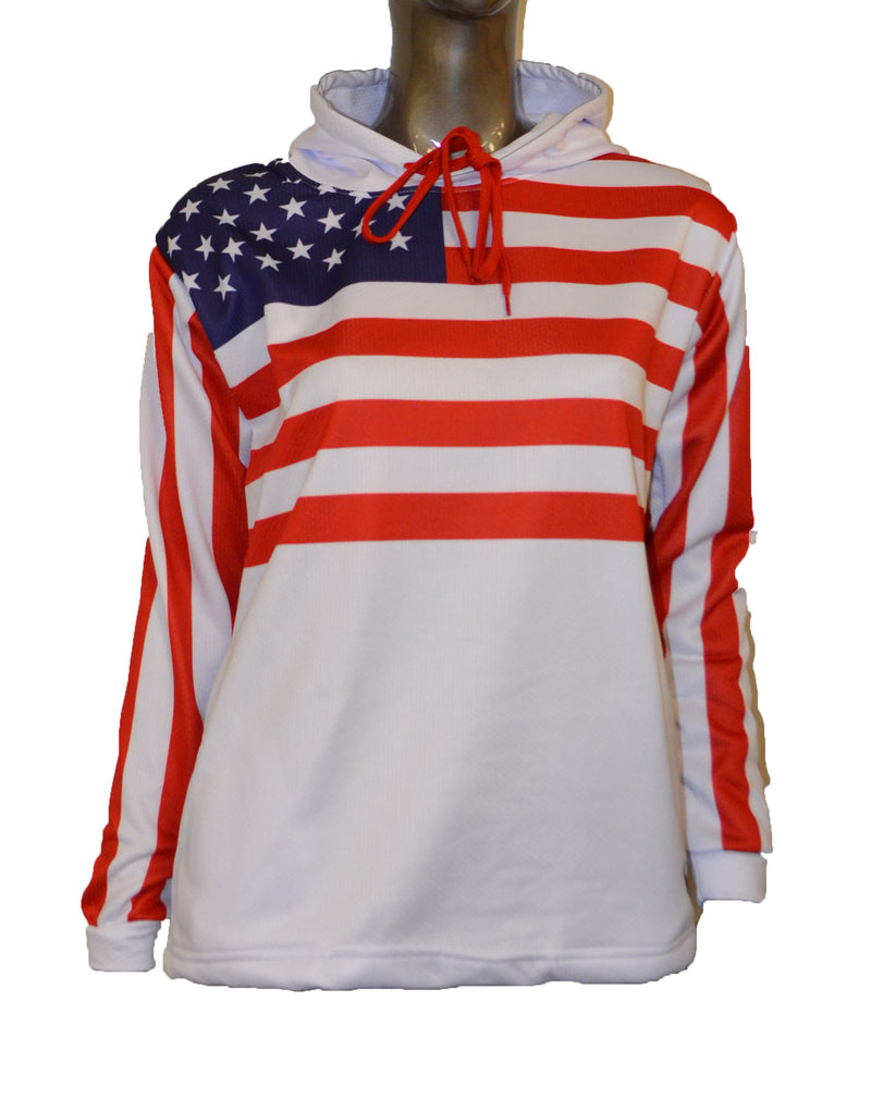 WOMENS FULL DYE SUBLIMATED WHITE FLAG PULLOVER HOODIE