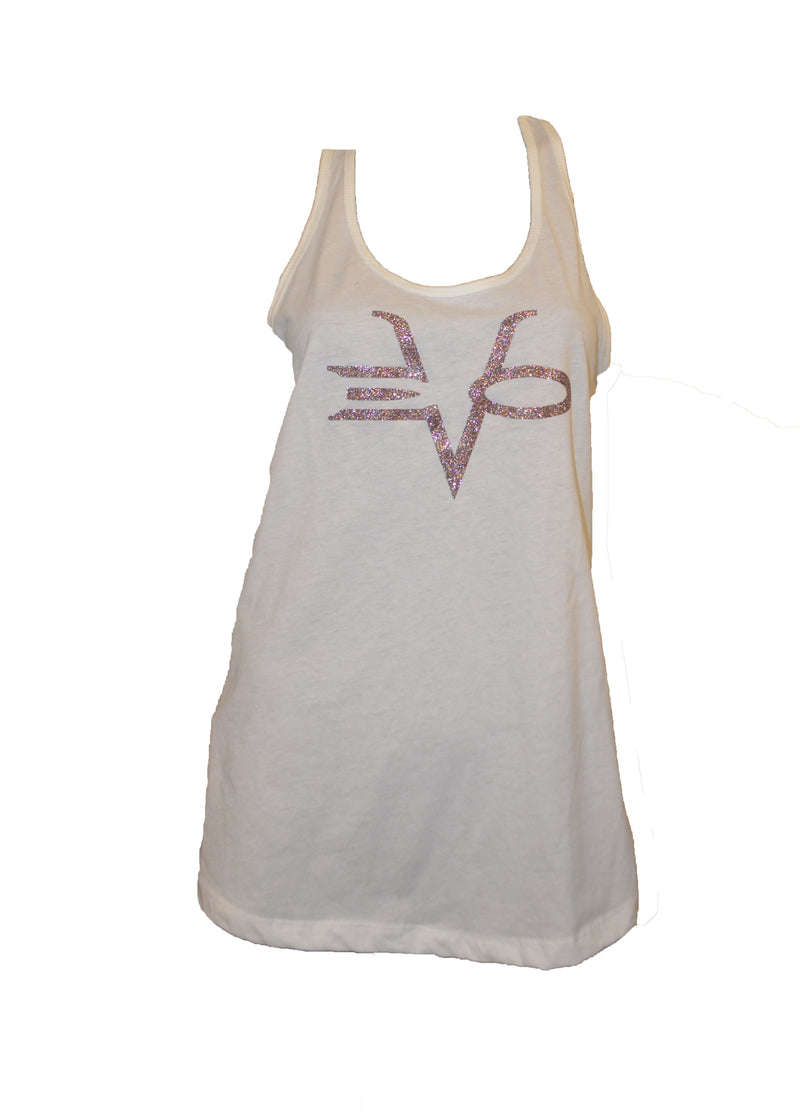 EVO STAMP RACER BACK TANK WHITE SILVER GLITTER CLEARANCE