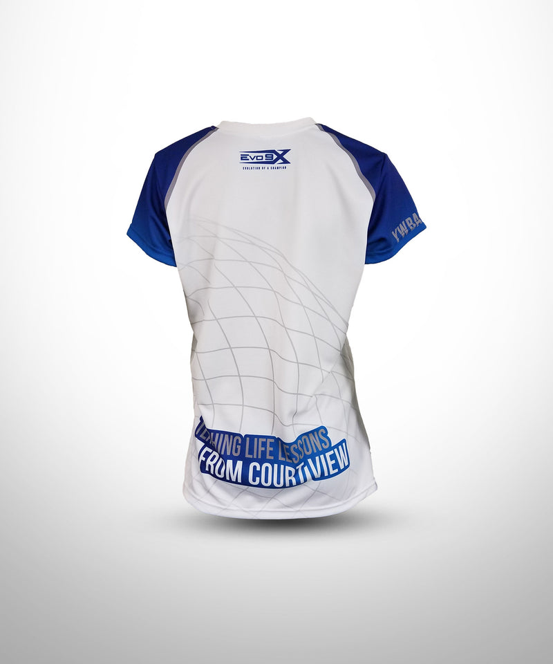 Full Dye Sublimated V-Neck with Cap Sleeves WHT YW BALLERS