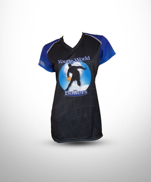Full dye Sublimated Ladies V-Neck with Cap sleeves  YWB-Black