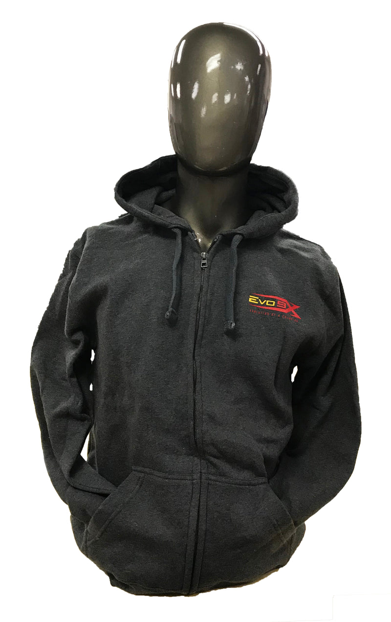 YOUTH EVO LOGO CHARCOAL GREY ZIP UP HOODIE CLEARANCE
