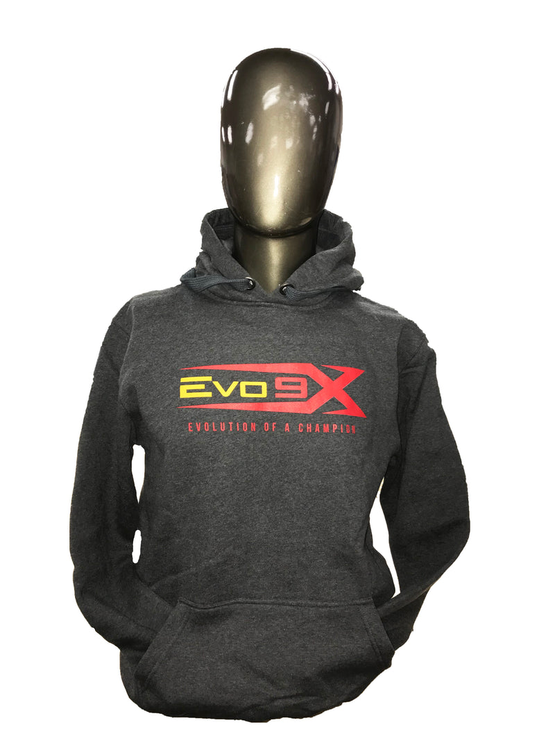 YOUTH EVO LOGO CHARCOAL GREY PULLOVER HOODIE CLEARANCE