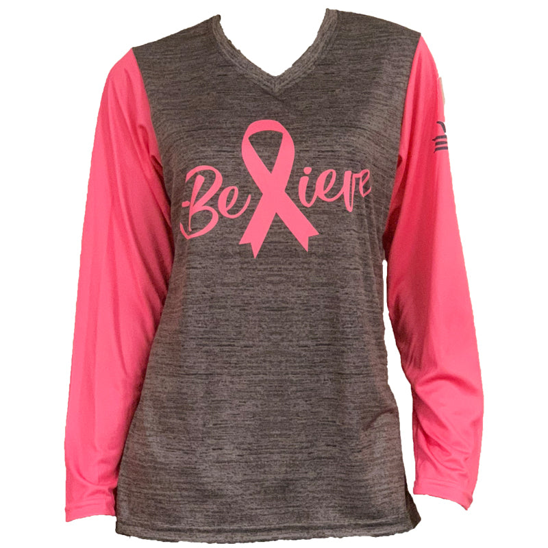Evo9x BELIEVE Breast Cancer Awareness Sublimated Shirt Pink/Gray