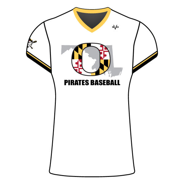 Evo9x OLNEY PIRATES Baseball Women's Cap Sleeve Shirt White