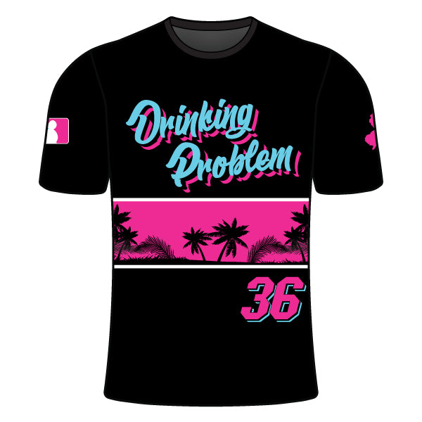 Evo9x DRINKING PROBLEM Full Dye Sublimated Crew Neck Shirt Black